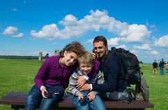 Family on travel. The family on travel at excursion listens the audioguide Stock Photo
