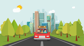 Family travel by car, flat cartoon style happy family with kid travelling together via automobile vector. Illustration, concept of people journey, summer Stock Photos