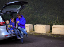 Family travel by car- happy father with kids on road Stock Photography