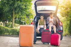 Family travel with car. And suitcases Royalty Free Stock Image
