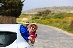 Family travel by car in summer mountains Stock Image