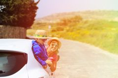 Family travel by car in summer mountains Stock Photography
