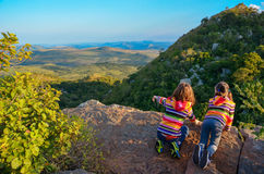Family travel with children, kids looking from mountain viewpoint, holiday vacation in South Africa Royalty Free Stock Photos
