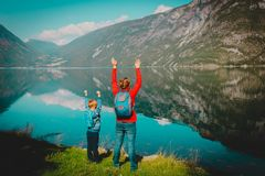 Family travel concept- mother and son travel in nature. Family travel concept- mother and son hiking travel in nature stock image