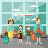 Family travel concept vector poster. Parents with two kids at the airport going to vacation. Cartoon people characters. In flat style design. Airport interior Stock Image