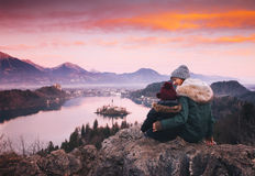 Family travel Europe. Bled Lake, Slovenia. stock photos