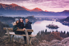 Family travel Europe. Bled Lake, Slovenia. Royalty Free Stock Images