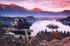 Family travel Europe. Bled Lake, Slovenia. Family travel Slovenia, Europe. Bled Lake one of most amazing tourist attractions. Winter landscape. Top view on stock photo