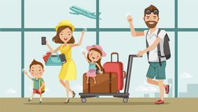 Family travel. Father ,mother, son and daughter at the airport.Happy family concept. Cartoon Asian Character Family, illustration, ,Isolated from the royalty free illustration