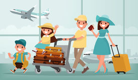 Family travel. Father mother, son and daughter at the airport. V. Ector illustration in a flat style royalty free illustration