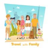 Family Travel Illustration Stock Photos