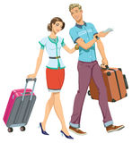 Family Travel. Illustration of a Young Couple going in a traveling Stock Photography