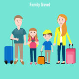 Family travel with kids vector Royalty Free Stock Images
