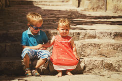 Family travel - little boy and girl in old town Dubrovnik, Croatia Stock Images