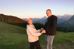 Family travel in mountains stock photos