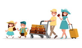 Family travel. Parents and children at the airport fly away for. A vacation. Vector illustration of a flat design on isolated background Royalty Free Stock Photos