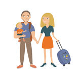 Family travel. Parents and children at the airport fly away for a vacation. Vector illustration of a flat design on isolated background Royalty Free Stock Photo