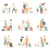 Family travel Set, Father, Mother and Kids Characters Travelling Together, Happy family Vector Illustration. On White Background royalty free illustration