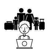 Family with travel suitcases Stock Photos