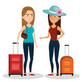Family travel with suitcases Stock Photo