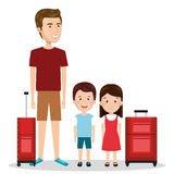 Family travel with suitcases Stock Image