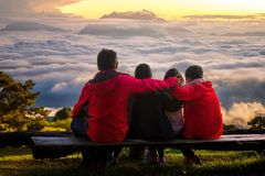 Family travel togather. In Huai nam dang national park, Chiang mai, Thailand Stock Image