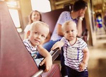 Family travel in train Royalty Free Stock Photos