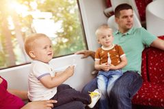 Family travel in train Royalty Free Stock Photography