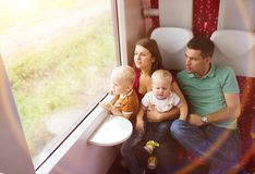 Family travel in train Royalty Free Stock Image