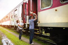 Family travel in train Royalty Free Stock Images