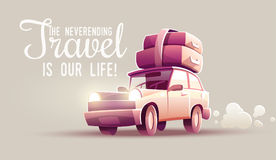 Family travel vacation drive trip by car. Vacation drive trip by car. Family travel retro transport vehicle with luggage suitcases and trunks at roof. Eps10 Stock Images