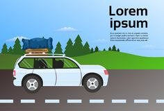 Family Travel Vehicle On Road Route With Luggage Suitcases On Roof, Vacation Drive Trip By Car Concept. Flat Vector Illustration Stock Photo