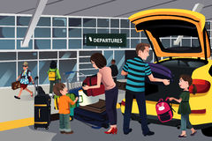 Family traveler outside the airport Stock Photography