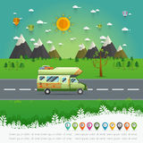 Family traveler truck driving on the road Royalty Free Stock Photo