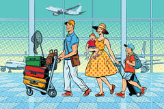 Family travelers at the airport. Pop art retro vector illustration. Air transport royalty free illustration