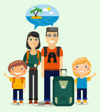 Family of Travelers dreaming about sunny beach. Flat Family of  Young Travelers dreaming about sunny beach. Colorful Vector Illustration Royalty Free Stock Photos