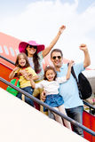 Family traveling by airplane Stock Photography