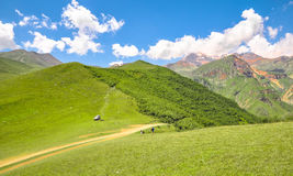 Family traveling by car in the mountains of the Caucasus Stock Image