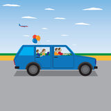 Family traveling by car. Stock Photo