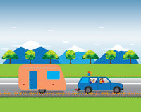 Family traveling by car with trailer. Stock Images