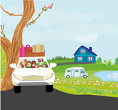 Family traveling in a car Royalty Free Stock Images