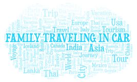family traveling in car word cloud stock illustration