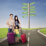 Family traveling and destination choice Stock Photo