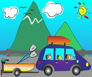 Family traveling on holiday by funny car Royalty Free Stock Photos