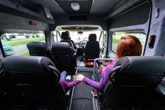 Family traveling in minivan to airport. Family travelling in minivan to airport. People on public transport bus or van are travelling to airport for vacation Stock Photos
