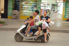 Family traveling in Rongjiang Royalty Free Stock Photography