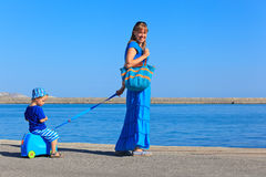 Family traveling on sea vacation Royalty Free Stock Images