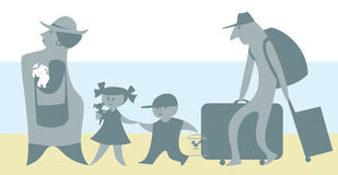 Family travels. The cartoon depicts a traveling family of four Royalty Free Stock Photography
