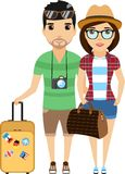 Family travels around the world. Young family travels around the world. A happy family. Cartoon  illustration. Isolated on a white background Stock Photo