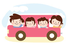 A family travels on a bus. Cartoon vector illustration Royalty Free Stock Image